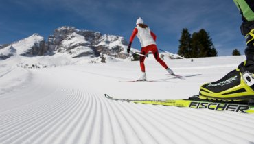 Cross country skiing in the Dolomites